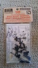 Micro Trains N 00102013 1026 Body Mount Adaptor Draft Gear & Couplers 2 pair NIP