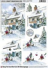 A4 BEAUTIFUL DIE CUT DECOUPAGE - **SNOWEY COTTAGE **  GREAT FOR CRAFTS