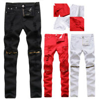 Men's  Jeans Casual Skinny Slim Biker  Knee Zipper Distressed Ripped Denim Pants