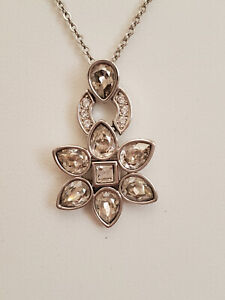 Authentic Swarovski Brand Silver Plated with Crystals Flower Drop Necklace EUC