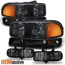 Fit 1999-02 GMC Sierra 99-06 Yukon XL Black Headlights+Bumper+Smoked Fog Lights