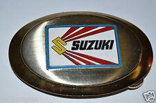 Vintage 1970's Suzuki Chrome Metal Belt Buckle Motorcycle Racing Dirt Bike RARE