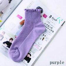 Ladies Ankle Socks Ruffle Edge Trim - Purple - LS0014