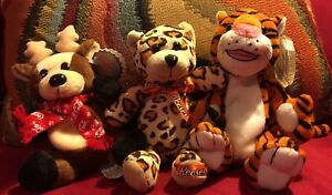Trio small stuffed plush leopard, tiger and reindeer. Coca Cola & Reeces mascots