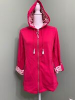 Susan Graver Weekend French Terry Hooded Jacket w/ Printed Trim - Pink - X-Small