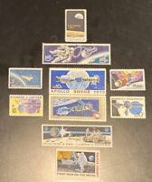 12 Old Space Stamps Apollo;Soyuz;Mercury;Mariner;Man On Moon