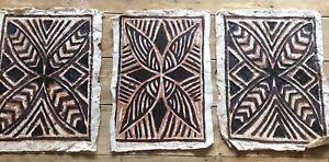 Authentic Pacific Set Of 3 Tapa Bark Artwork Ethnic Cloths