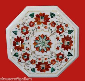 """12"""" Corner Marble Table Top Inlay Handmade Work For Home Decor"""