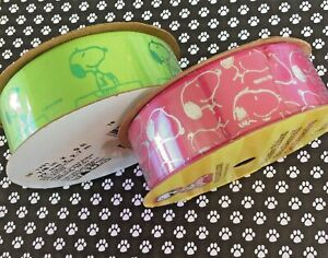 """Snoopy on Doghouse Peanuts Satin Ribbon Offray Neon Green + Hot Pink 7/8""""W 3 Yds"""