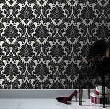 Damask White Black & Silver Wallpaper - Super Fresco - Majestic 10M ROLL