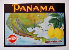 PANAMA Lemon Crate Label - Santa Barbara CA Johnson Fruit Co. -  Map of Panama