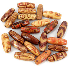 *LARGE* 50pcs Wooden beads ~mixed patterns~23x8mm New Rice beads Mix W399