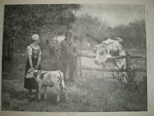 Bereft from G V Thoren 1892 old print cow separated from calf