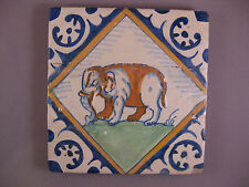 Antique Dutch Polychrome Delft tile Elefant Rare 17th century - free shipping