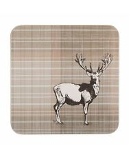 🦌 Set Of 6 Impress Tea Cup Coffee Cup Drinks Coasters Stag Deer Brown Tartan 🦌