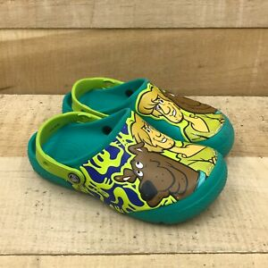 Crocs Kids Scooby Doo Green Rubber Toddler Casual Clog Shoes Slip On Round Toe 2
