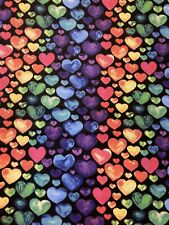 RAINBOW Hearts Fabric By the Half Yard 100% Cotton