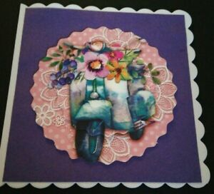 Handmade Birthday Card female card scooter sister friend daughter Happy Birthday