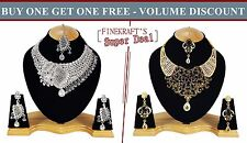 Gold Plated Party wear Zerconic Kundan Style Necklace Sets Volume Discount bg108