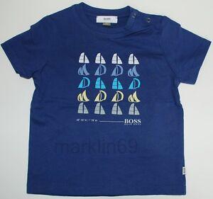 Baby Boys Genuine Hugo Boss Blue Boat Design T-Shirt 18months - CLEARANCE