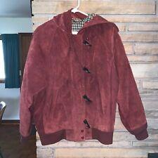 Vintage London Fog Rust Burgundy Suede Jacket Coat - Size Medium
