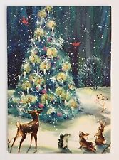 Vintage Card Christmas Tree Deer Squirrel Bunny Rabbit Snow Cardinal Bird Forest
