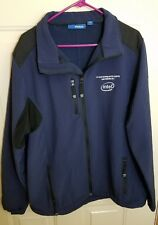 REEBOK Mens XL Blue Soft Shell INTEL Leadership 2012 Logo Full Zip Jacket B6