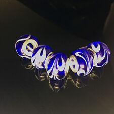 5pcs Silver MURANO GLASS BEAD LAMPWORK fit European Charm Bracelet  G,