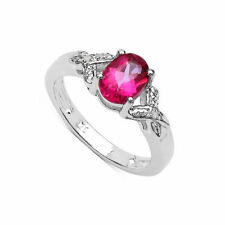 Oval Sterling Silver Engagement Solitaire with Accents Fine Gemstone Rings