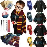 Harry Potter Hogwarts Adult Kids Robe Cloak Cape Scarf Wand Halloween Costumes