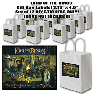 """Lord of the Rings Stickers Party Favors Gift Label 3.75"""" x 4.75""""  -12 pcs Gollum"""