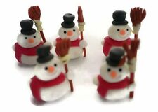 Set of 5 Snowman Christmas Dollhouse Miniatures Clay Figurine Holiday Season