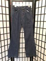 Vtg Rare 1970s Levi 646 746 Bell Bottom Dark Denim Orange Tab Jeans Button Fly