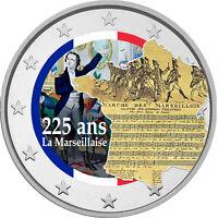 2 Euro Gedenkmünze mit Marseillaise coloriert / Farbe / Farbmünze Frankreich