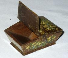 Ancienne boite à timbres Panier miniature décor de fleurs peintes , XIXE Siecles
