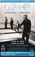 """U2 """"IE EXPERIENCE + INNOCENCE TOUR"""" 2018 WASHINGTON D.C. CONCERT POSTER-Alt Rock"""