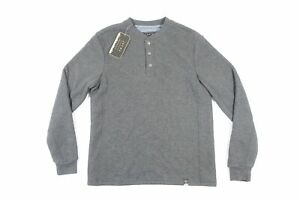 JACHS GRAY SHERPA WAFFLE THERMAL HENLEY MEDIUM SWEATER MENS NWT NEW