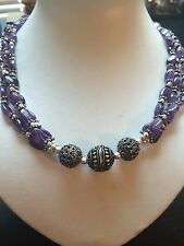 """DELUXE! REAL! GEM PURPLE AMETHYST,..STERLING 925 SILVER NECKLACE 18"""""""