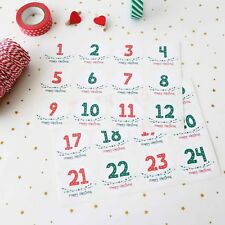 24x Advent Christmas Stickers XMAS Countdown Label Tags Christmas Gifts