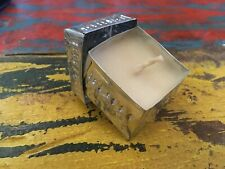 Small Hand Made Aluminium Scented Candle Square Tin Metal Silver Lid Embossed
