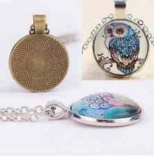 New Charm Owl Photo Cabochon Glass Tibet Silver Plated Chain Pendant Necklace F