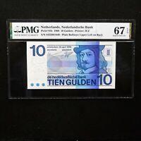 1968 Netherlands 10 Gulden, Pick # 91b, PMG 67 EPQ Superb Gem Unc.