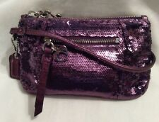COACH Poppy Signature Amethyst Purple Sequins Metallic Evening Wristlet RARE