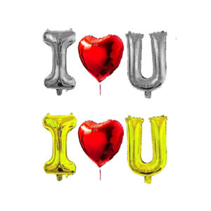 """I <3 U Balloon Red 30""""inch Heart Balloon w/ 40""""inch Gold or Silver Letters love"""