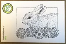 """IMPRESSION OBSESSION """"BUNNY WITH EGGS"""" RED RUBBER CLING STAMP G2531 - NEW"""