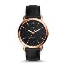 Fossil FS5376P Minimalist Slim 44mm Watch - Black Leather - Rose Gold