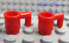 NEW Lego Lot/2 Minifig RED MUGS - Minifigure Kitchen Coffee/Food/Drink/Tea Cups