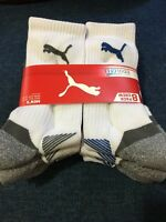 PUMA 8 Pack Men's White Crew Socks size 10-13 COOL CELL Shoe Size 6-12