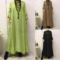ZANZEA UK Womens Long Sleeve Casual Loose Kaftan Baggy Maxi Dress Plus Size 8-24