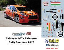 DECAL  1/43 -  FORD  FIESTA R5  -  CAMPEDELLI - Rally SANREMO  2017